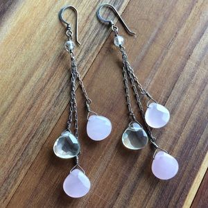 Rose quartz & lemon quartz triple chain earrings